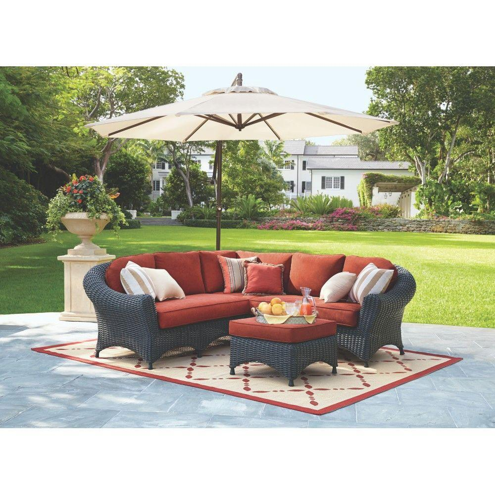 Martha Stewart Living Adela Charcoal All Weather Wicker Sectional Set Spice Cushions