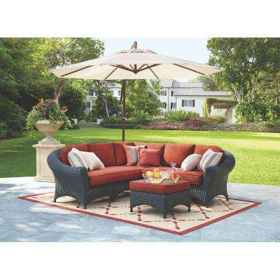 Lake Adela 4-Piece Charcoal All-Weather Wicker Patio Sectional Set with Spice Cushions