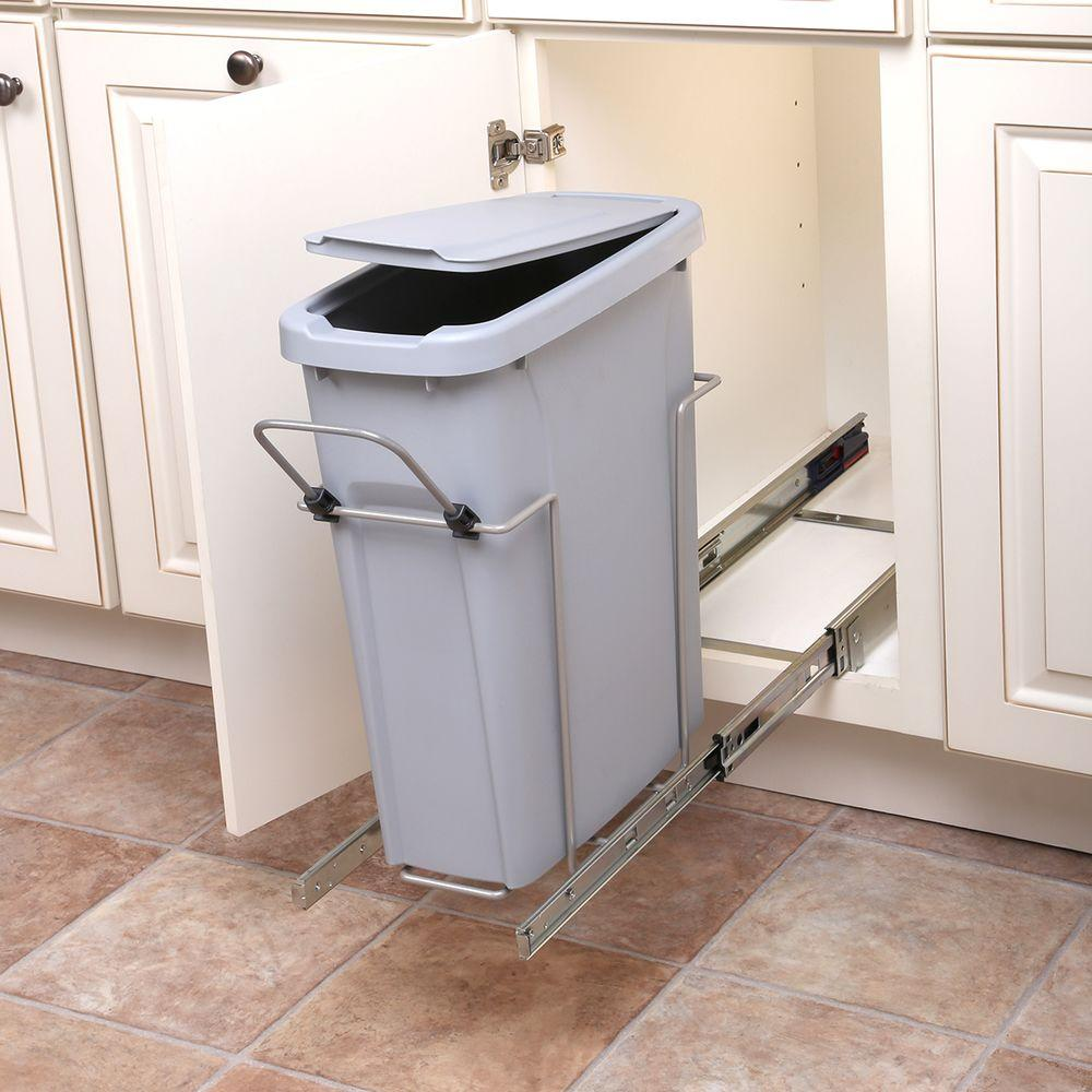 Real Solutions for Real Life 8.375 in. x 17.3125 in. x 20.125 in. In Cabinet Pull Out Single Soft-Close Trash Can