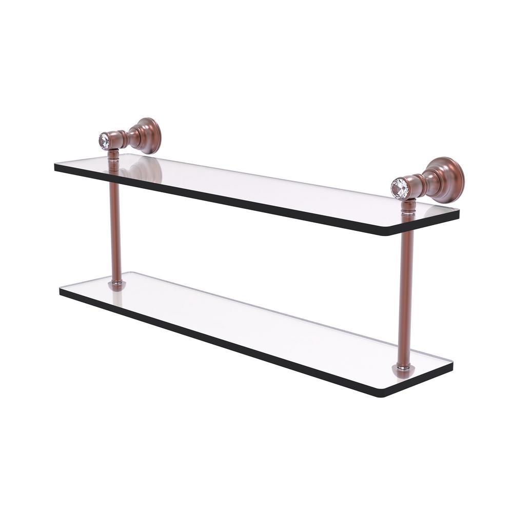 Allied Brass Carolina Crystal 22 In 2 Tiered Glass Shelf In Antique Copper Cc 2 22 Ca The Home Depot
