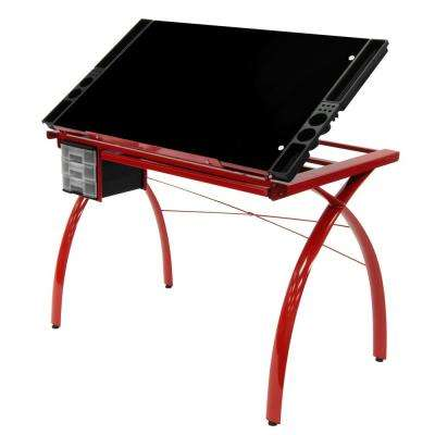 Futura Collection: 38 in. W Red/Black Glass Metal and Glass Craft Table with Storage and Angle Adjustable Top