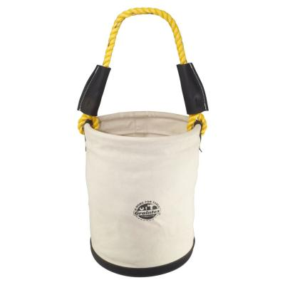 12 in. 1 Pocket Utility Canvas Bucket with Plastic Bottom