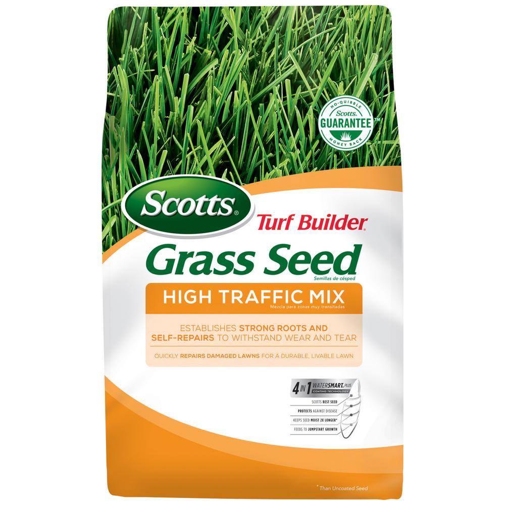 Scotts 7 Lbs Turf Builder Grass Seed High Traffic Mix 18277 The Home Depot