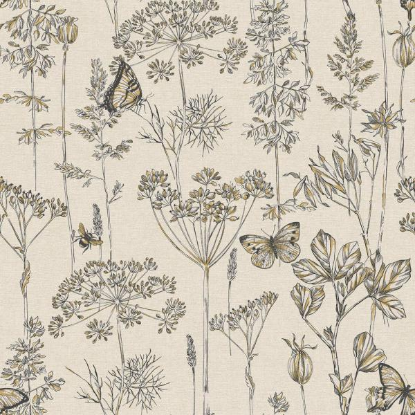 Arthouse Meadow Floral Charcoal and Ochre Non-Woven Wallpaper 904105