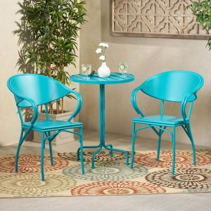 Noble House Palm Desert 30 In Matte Teal 3 Piece Metal