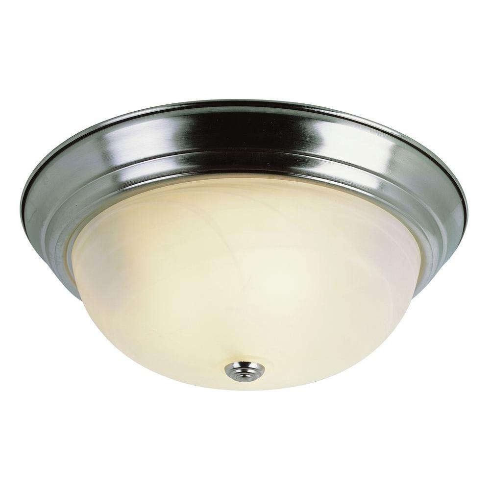 newest b4b23 4f79f Bel Air Lighting Cabernet Collection 2-Light Brushed Nickel Flush Mount  with White Marbleized Shade