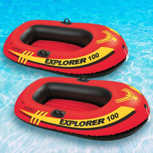 Intex Explorer 100 1-Person Inflatable Floating Boat Pool Float (2-Pack)