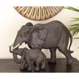 9 inch x 14 inch Decorative Elephant Sculpture in Colored Polystone by
