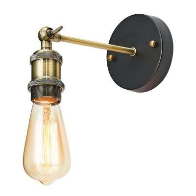 1-Light Antique Bronze Adjustable Sconce with Exposed Bulbs