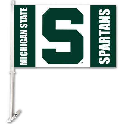 NCAA 11 in. x 18 in. Michigan State 2-Sided Car Flag with 1-1/2 ft. Plastic Flagpole (Set of 2)