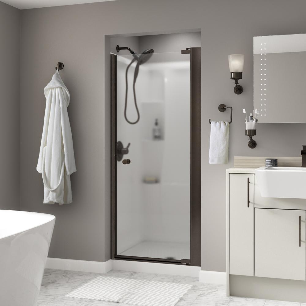 Lyndall 36 in. x 64-3/4 in. Semi-Frameless Pivot Shower Door in Bronze with Niebla Glass