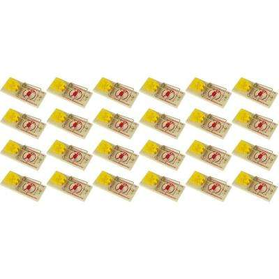Cheese Shaped Plastic Trigger Wooden Snap Mouse Trap (24-Pack)