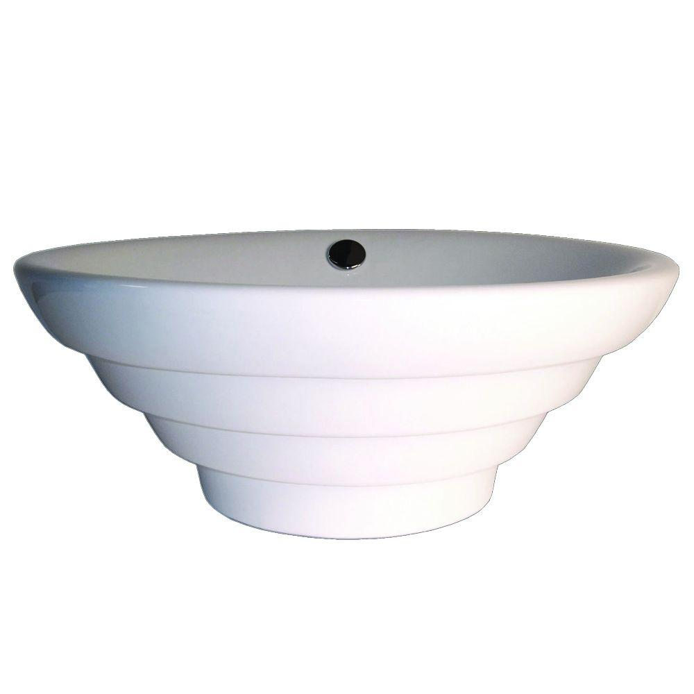 Fontaine Stacks Porcelain Vessel Sink in White-DISCONTINUED