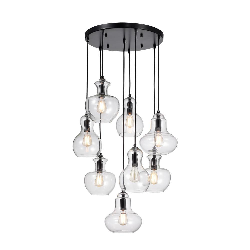 Warehouse of Tiffany Beveen 8-Light Black Pendant