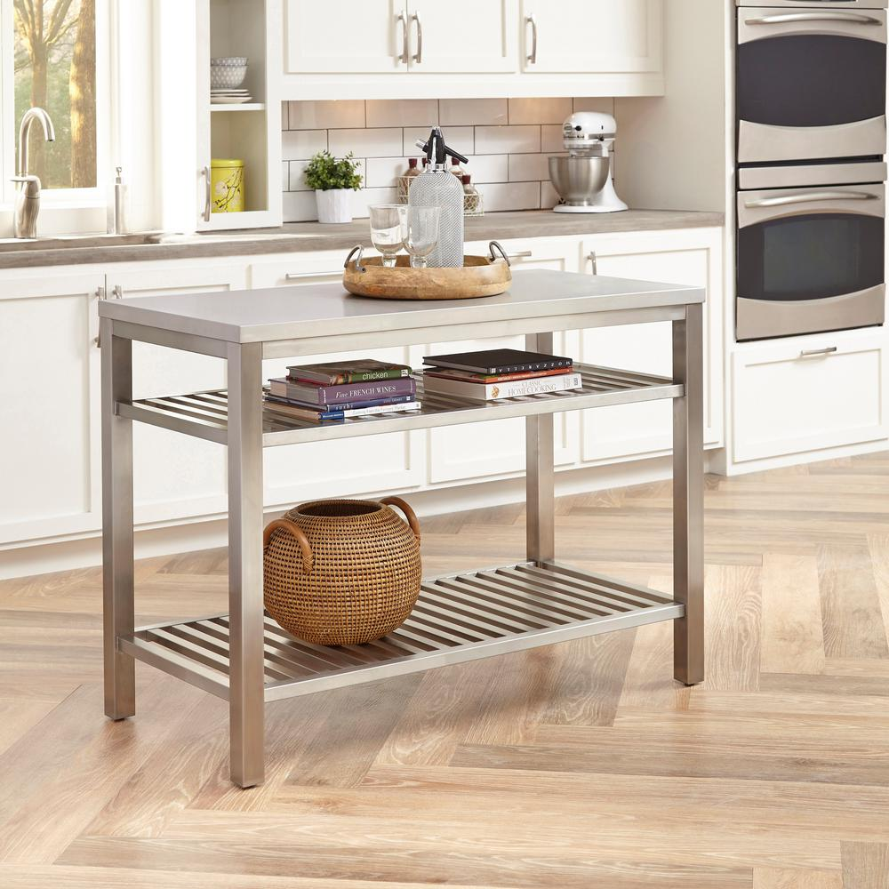 metal island kitchen home styles brushed satin stainless steel kitchen island 14184