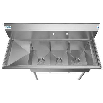 Freestanding Stainless Steel 51 in. 2-Hole Triple Bowl Commercial Kitchen Sink Left Drainboard