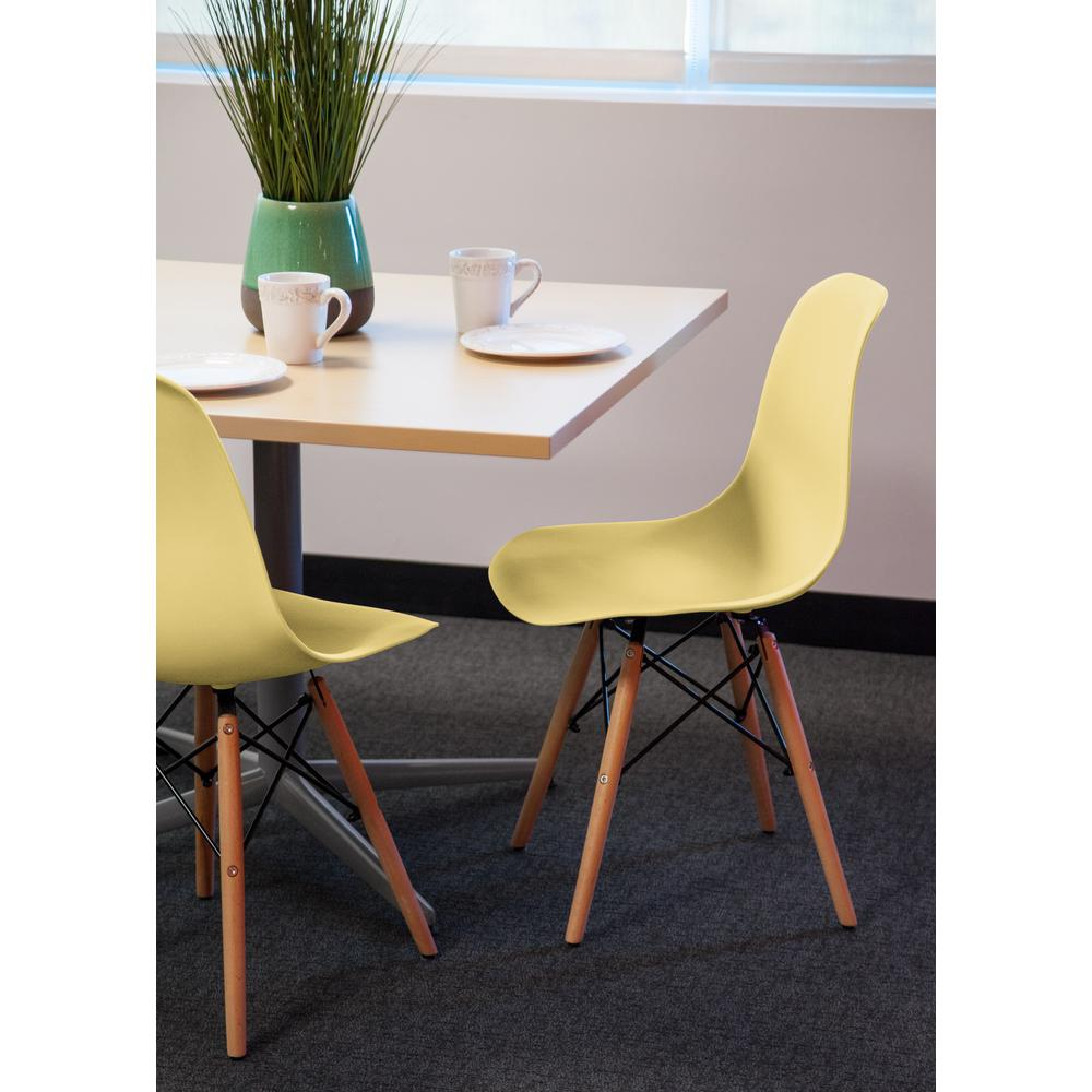 Yellow Plastic Shell Chair (Set of 2)