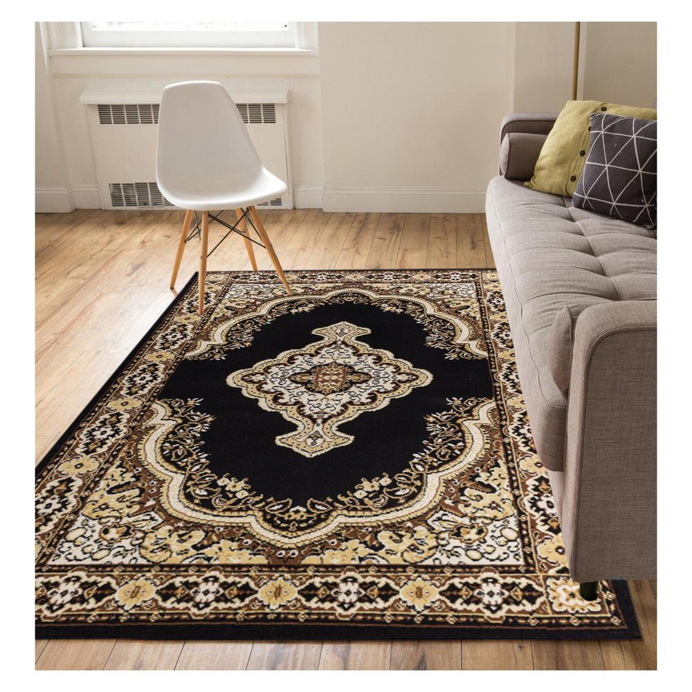 Miami Tehran Traditional Medallion Black 2 ft. x 4 ft. Area