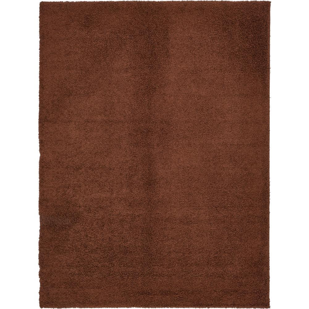 Unique loom solid shag chocolate brown 10 ft x 13 ft rug 3136089 the home depot for Chocolate brown bathroom rugs