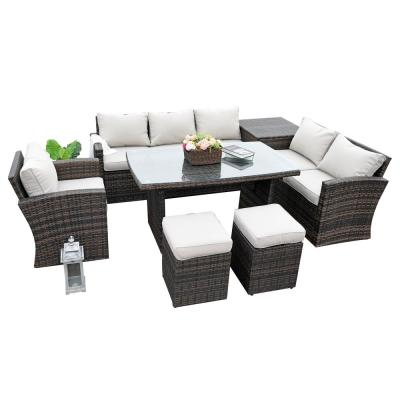 Phoenix Brown Wicker Outdoor Sectional Set with Beige Cushions