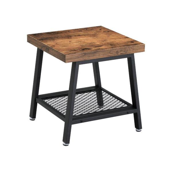 Brown and Black Metal Framed Nightstand with Wooden Top and Mesh Bottom Shelf 17.7 in. L x 17.7 in. W x 18.5 in. H