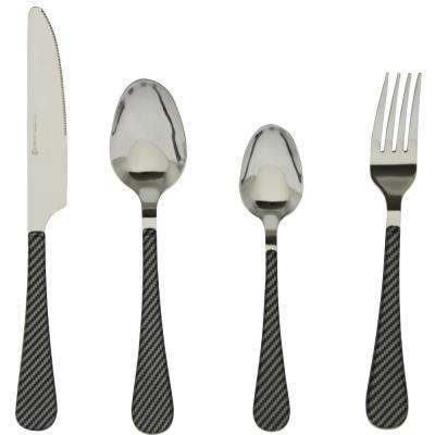 Teardrop Stripe 16-Piece Grey Stainless Steel Flatware Set