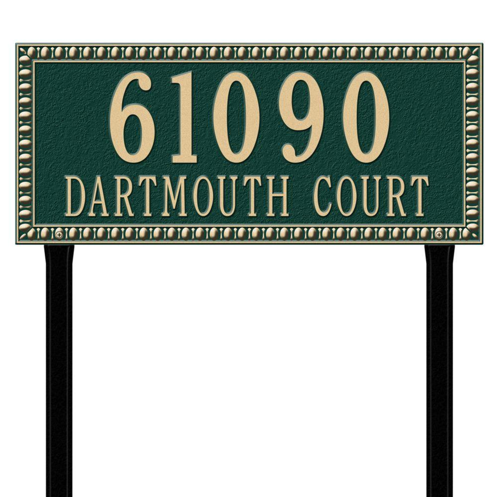 Egg and Dart Rectangular Green/Gold Estate Lawn Two Line Address Plaque