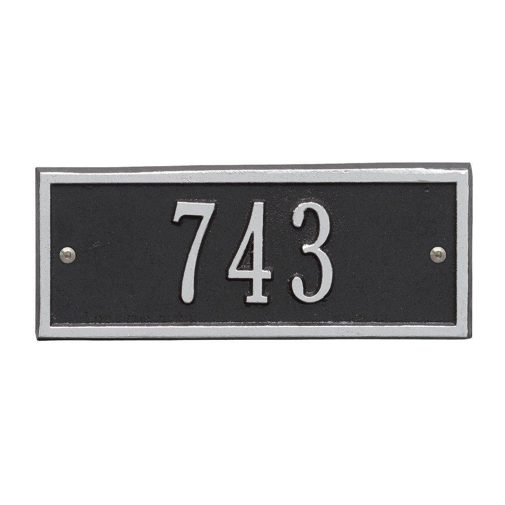 Hartford Rectangular Black/Silver Petite Wall 1-Line Address Plaque