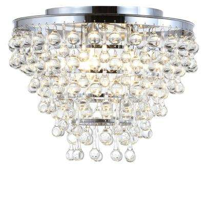 Toronto 16 in. Metal/Crystal LED Chrome Flush Mount