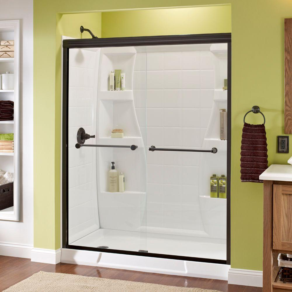Bathroom Sliding Glass Doors: Delta Crestfield 60 In. X 70 In. Semi-Frameless Sliding