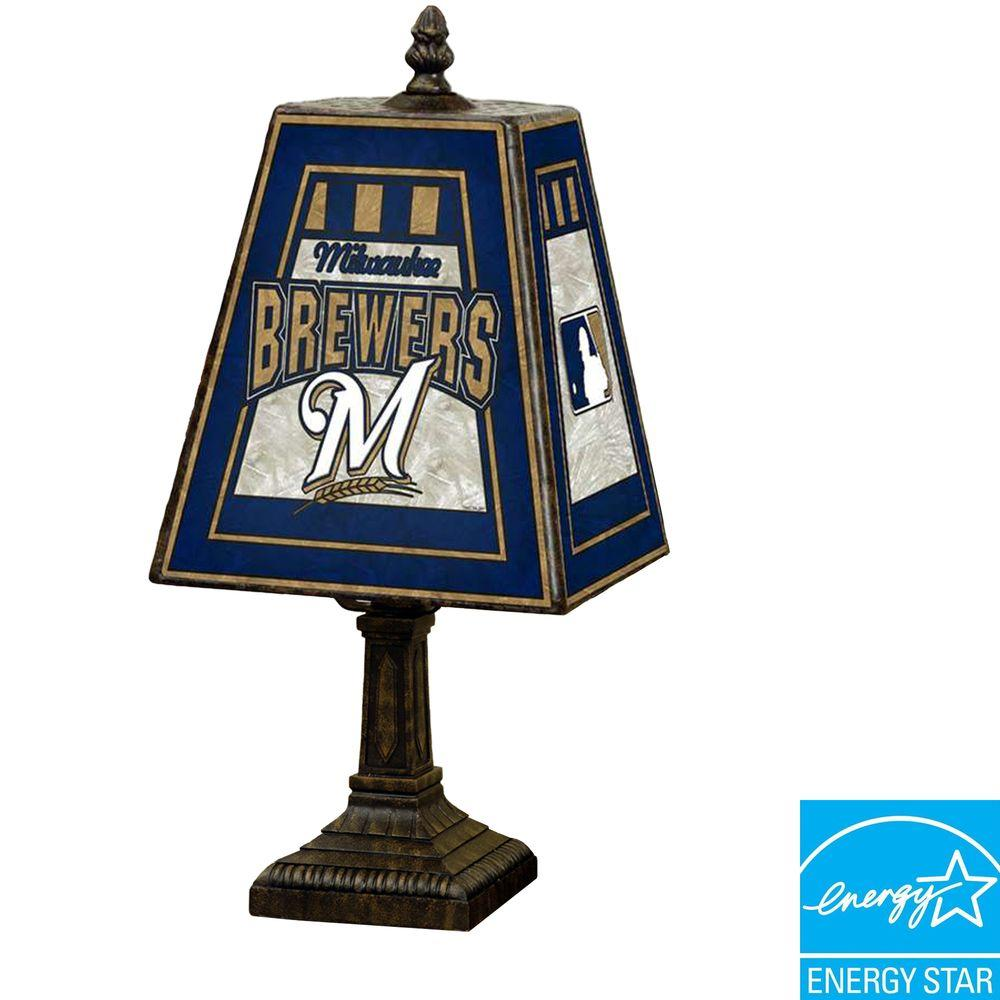 The Memory Company MLB 14 inch Art Glass Table Lamp - Milwaukee Brewers-DISCONTINUED