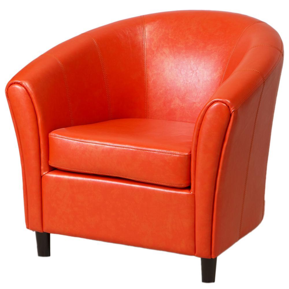 Napoli Orange Leather Bonded Club Chair