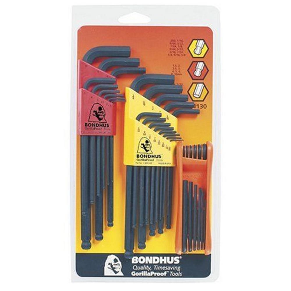 Bondhus Standard and Metric Ball End L-Wrench Sets and Hex Fold Up Tool with Standard and Metric Sizes (34-Piece)
