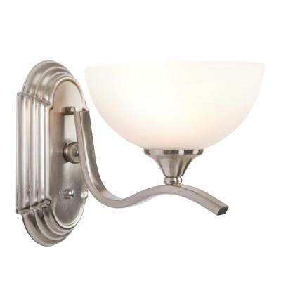 Glacier Point Collection 1-Light Satin Nickel Bathroom Vanity Light with Ivory Cloud Shade