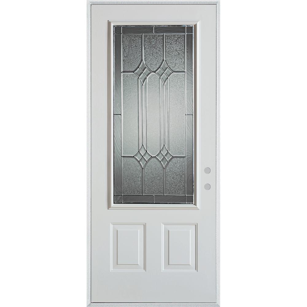 Stanley Doors 36 in. x 80 in. Orleans Zinc 3/4 Lite 2-Panel Painted White Left-Hand Inswing Steel Prehung Front Door