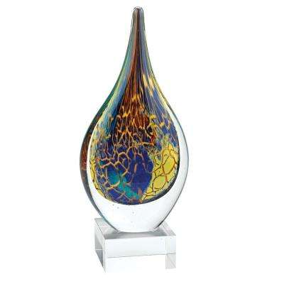Firestorm Murano Style Art Glass 11 in. Abstract Teardrop on Crystal Base