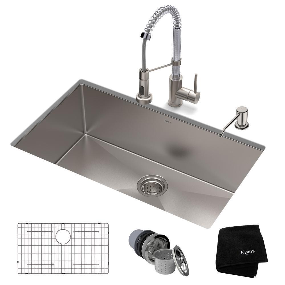kraus standart pro all in one undermount stainless steel 30 in rh homedepot com chrome kitchen sink faucet chrome kitchen sink soap dispenser
