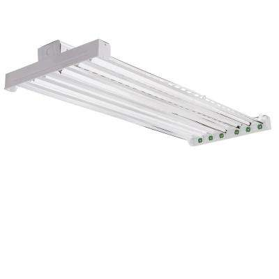 High Bay Industrial 6-Light Grey Hanging Fluorescent Fixture