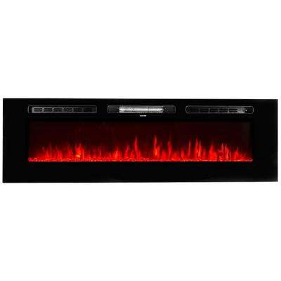 5100 BTU 1500-Watt 60 in. In-Wall Electric Heater Smokeless FireplAce with 3-Changeable Flame Color and Remote Control