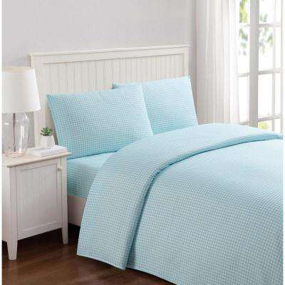 Everyday Gingham Aqua Full Sheet Set