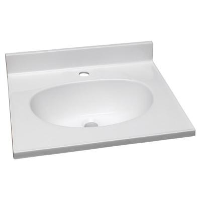19 in. Single Faucet Hole Cultured Marble Vanity Top with Solid White Basin
