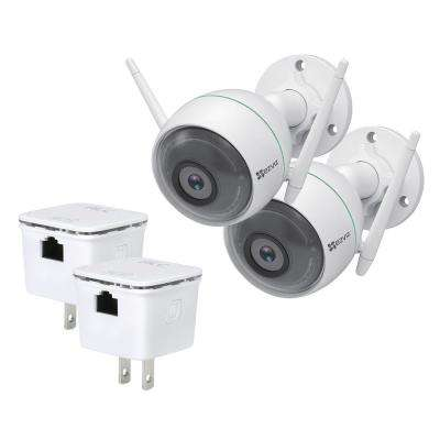 C3WN 1080p Outdoor Bullet Wi-Fi Full HD Security Camera with Smart Detection Zones with Wi-Fi Repeater (2-Pack)