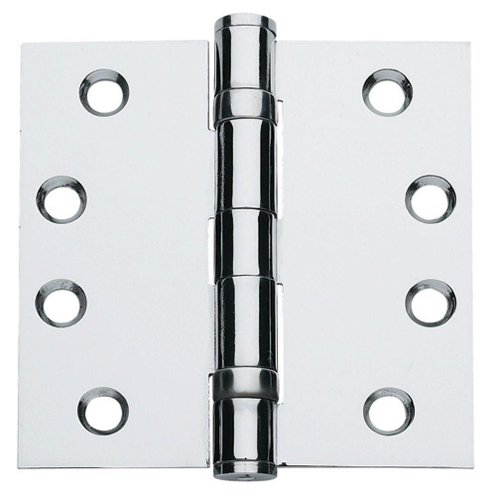 4.5 in. x 4.5 in. Satin Chrome Ball Bearing Non-Removable Pin Heavy Weight Commercial Hinge (Set of 3)