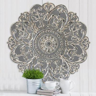 Grey Metal Medallion Wall Decor