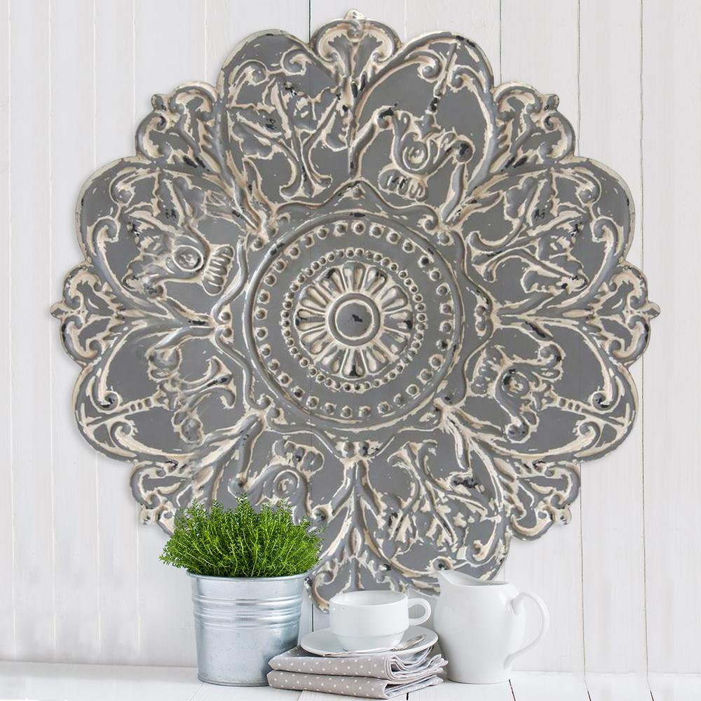 Stratton Home Decor Grey Metal Medallion Wall S07730 The Depot