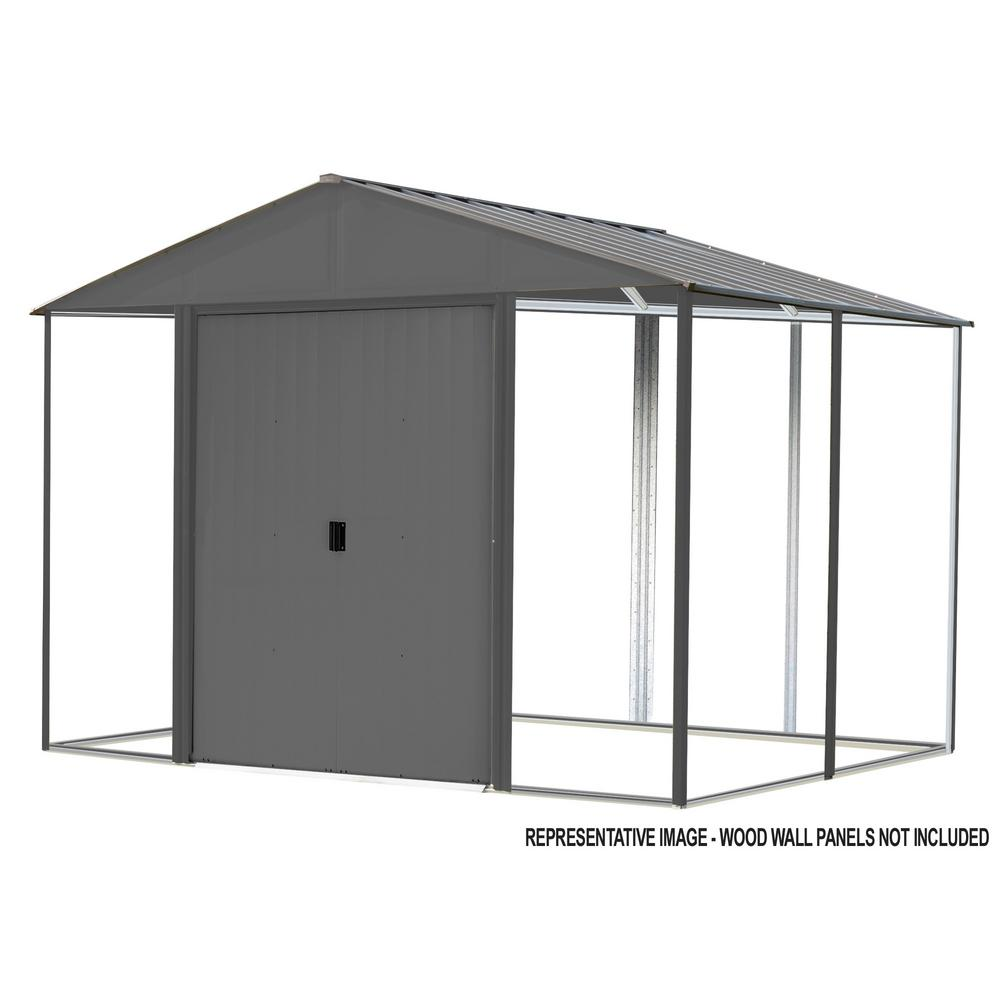 Arrow Ironwood 10 ft. W x 12 ft. D Anthracite-Finish Galvanized Steel Custom Hybrid Shed Kit
