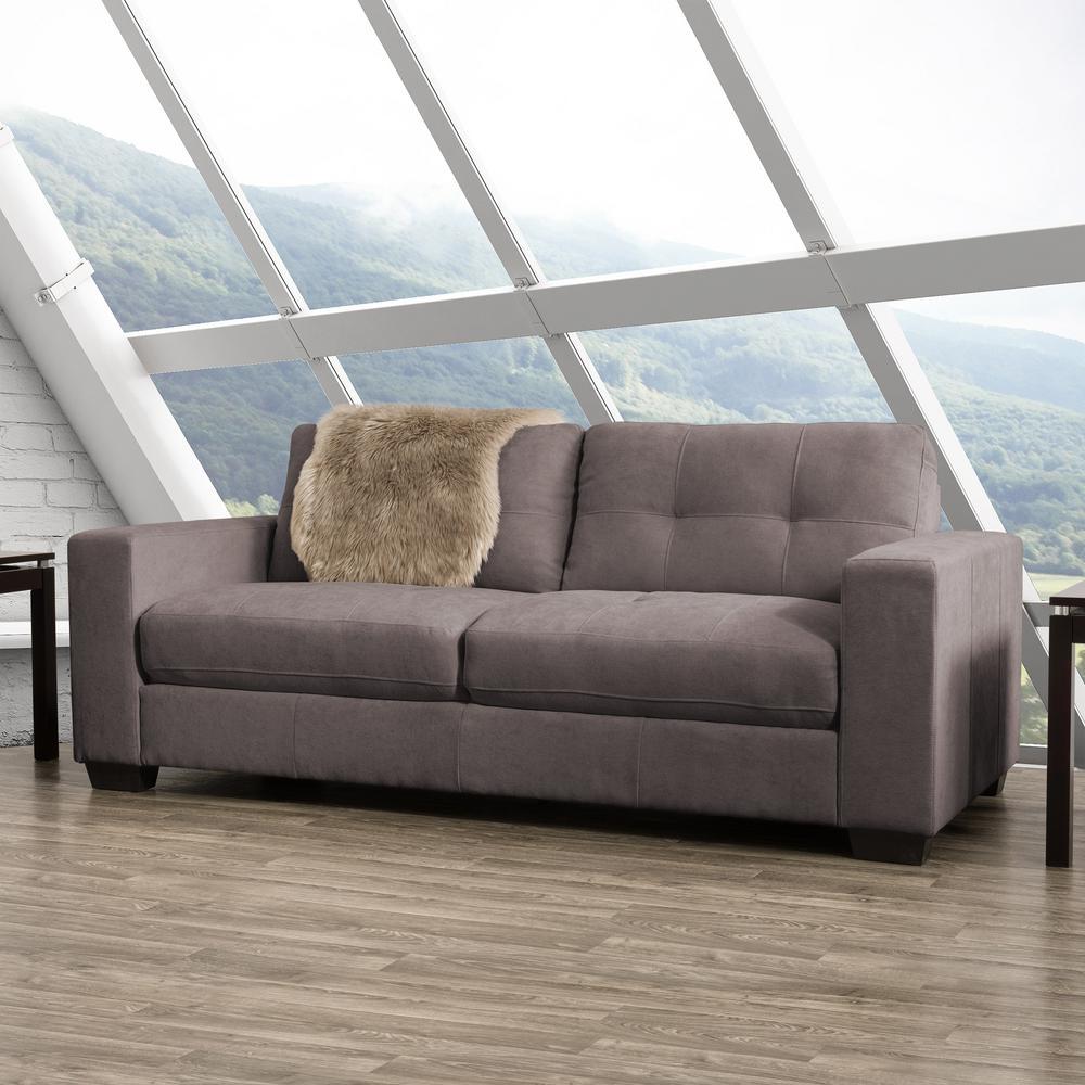 Club Tufted Grey Chenille Fabric Sofa