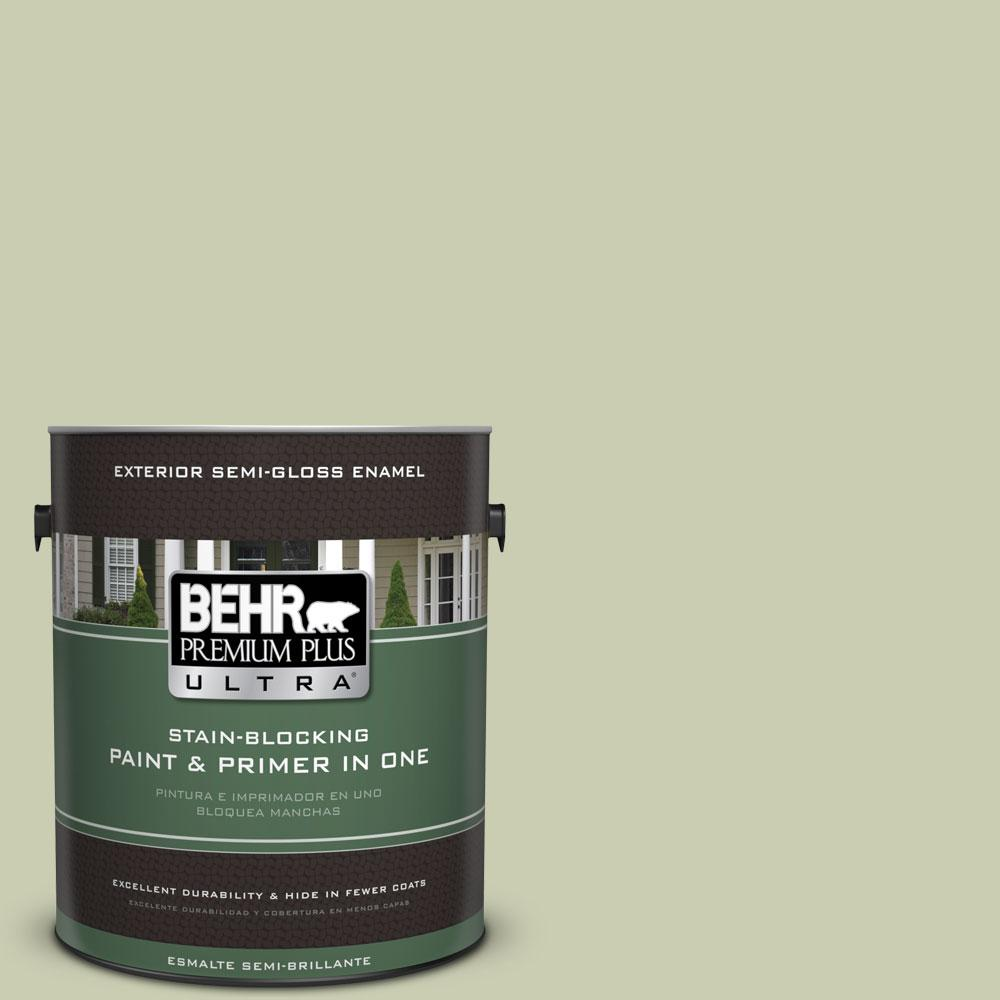 BEHR Premium Plus Ultra 1-gal. #BIC-13 Chilled Cucumber Semi-Gloss Enamel Exterior Paint