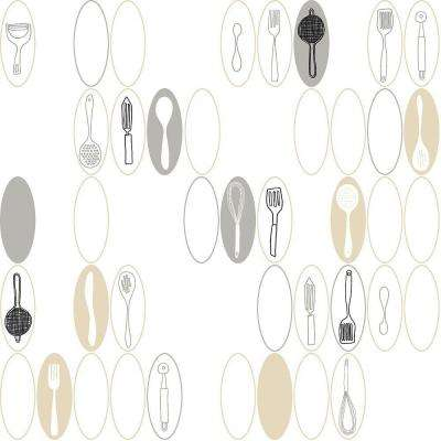 Kitchen Utensils and Ovals Wallpaper
