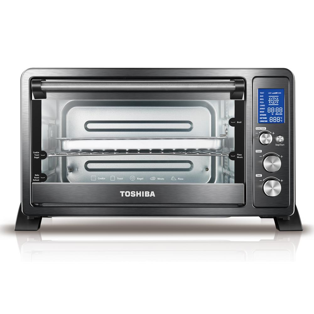 Digital 6-Slice Black Convection Toaster Oven This 6-slice Toshiba toaster oven offers a spacious capacity which accommodates up to 6 slices of bread or a 12 in. pizza. With its convection baking, it allows for much faster cooking times as well as more consistent heating for superior results. This toaster oven has seven preset menus and features digital controls and display. Its nonstick interior makes cleaning a breeze. Color: Black.
